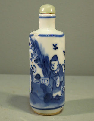 Chinese Antique Blue & White Snuff bottle - Original Jade Stopper & Spoon Qing