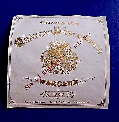 Wine Label 1949 Grand Vin Chateau Lascombes Margaux RARE