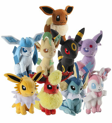 Official 2017 Tomy Pokemon Plush Eevee Evolution Soft Toys 20cm