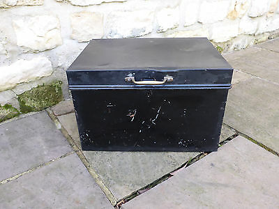 Vintage black tin deed box/trunk with handles