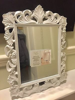 White Vintage Style Rocco French Louis Wall Dressing Table Mirror Shabby Chic