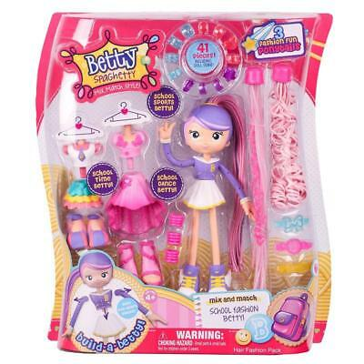 Betty Spaghetty Mix And Match Hair School Fashion Pack Doll Toy