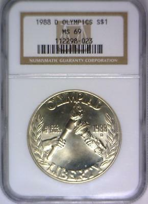 1988-D Olympics Silver Commemorative Dollar NGC MS-69