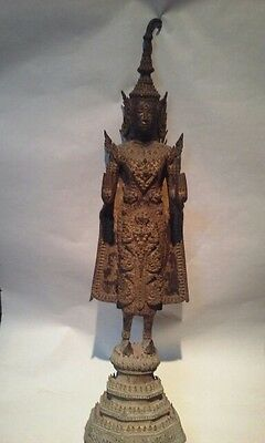 Antique Thai Bronze gilded standing Buddha statue as is