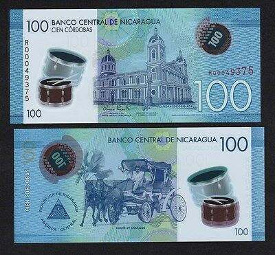 """Nicaragua 100 Cordobas (2014) P213 Replacement """"R"""" Polymer banknote - UNC"""
