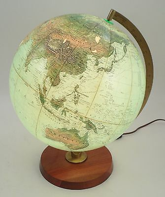 "Mid Century Replogle True to Life 12"" Globe Light w/ Metal Stand & Wooden Base"
