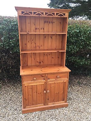 Solid Pine Welsh Dresser / Kitchen Cupboard With Drawers / Cabinet With Shelves