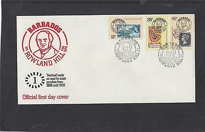 Barbados 1979 Rowland Hill stamp on stamp 1d Penny Black FDC Barbados fdi h/s