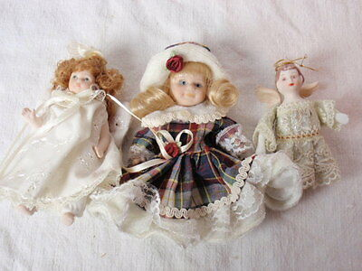 Angel Doll Lot Small China Bisque Porcelain Christmas Ornament Dollhouse Delton