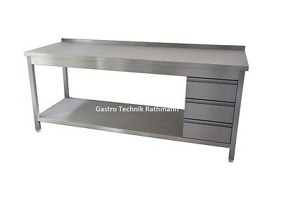 Stainless Steel Work Table B 2000 T 600 H 850 Tabletop Sealed 3 Drawers RE CNS