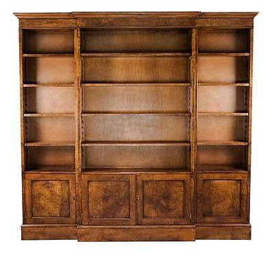 English Antique Style Burl Walnut Triple Breakfront Bookcase Bookshelf Tall Wide