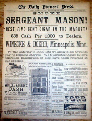 1882 St Paul Minnesota newspaper w large FP ad - BEST 5 CENT CIGAR on THE MARKET