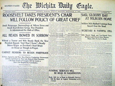 1901 hdlne newspaper TEDDY ROOSEVELT now PRESIDENT after McKINLEY ASSASSINATION