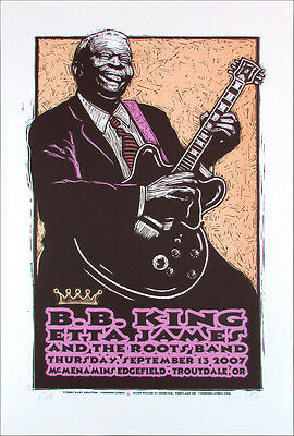 BB King Etta James Poster Original Signed Silkscreen Gary Houston Out of Print