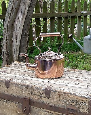 Genuine Vintage Antique Victorian Old English Copper Kettle For Decoration