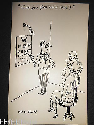 "CLIFFORD C LEWIS ""CLEW"" Original Pen & Ink Cartoon - Optician's Eye Test #514"