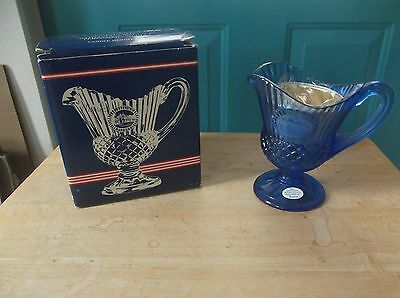 NIB Vintage Fostoria Blue Glass Mount Vernon Sauce Pitcher with Candle