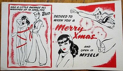 WWII 1940s Christmas Card w/Pinup Girl Wrapped Up & Sailor