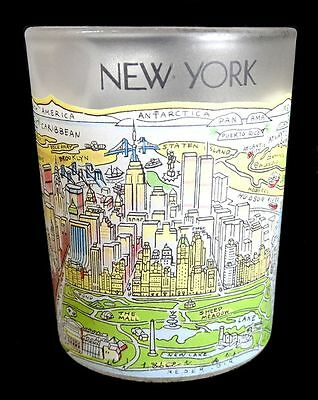 NEW YORK Votive Candle Holder Frosted Glass City Scene 2-5/8 inch