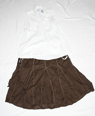 Oh! Mamma Small White Sleeveless Shirt  Old Navy Maternity Small Brown Skirt