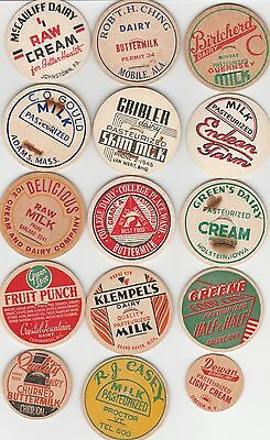 Lot Of 15 Different Milk Bottle Caps. All Named Dairies. #15