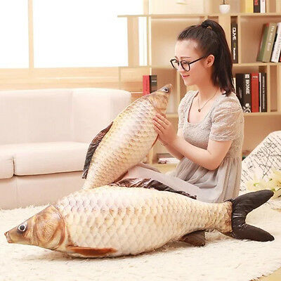 3D Plush Pillow Cover Stuffed Toy Grass Carp Fish Toy Back Cushion Cover Gift