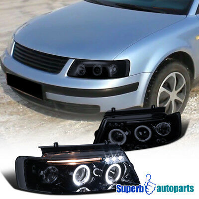 For Piano Black Dual Halo LED Projector Headlights For 1997-2000 VW Passat Smoke