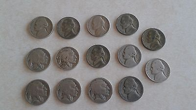 14 Assorted Us Buffalo & Jefferson Nickels 1936 To 1954 Coins Money