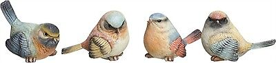 Set of 4 Large Resin Rainbow Bird Figurines--Each has a Slightly Different Pose