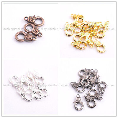 10Pcs Gold Silver Plated Bronze Copper Charms Lobster Clasps 17x10MM 3135