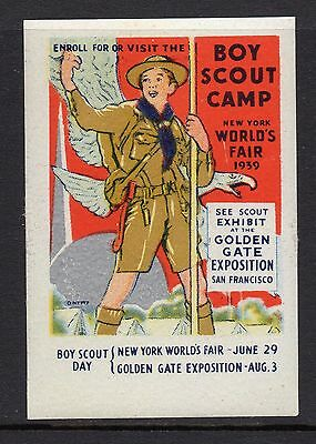 USA 1939 Worlds Fair Boy Scout Camp poster stamp