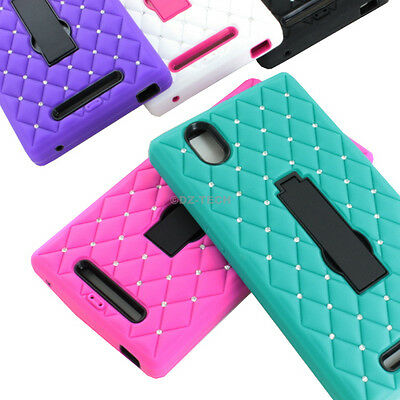 For ZTE ZMax Z970 Shockproof Hybrid Spot Diamond Bling Hard Case Cover Kickstand