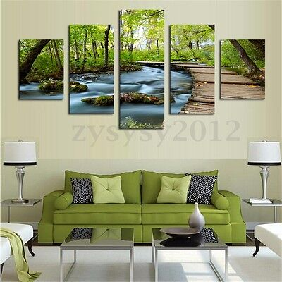 5 Panel Canvas Painting Bridge Forest Wall Art Picture Print Unframed Home Decor