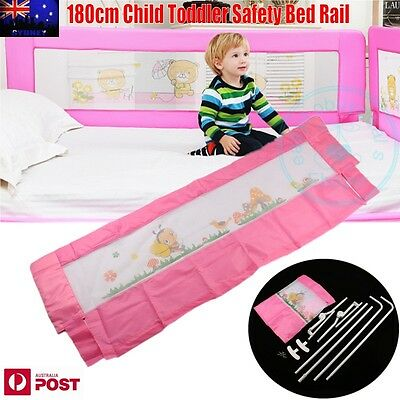 180cm Child Toddler Safety Bed Rail Baby Bedrail Fold Cot Guard Protection Pink