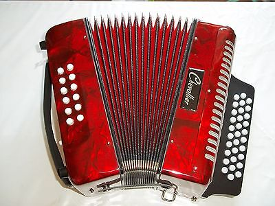 Accordéon D'Étude Diatonique Chevallier 12 Basses Rouge Marbre - Impeccable