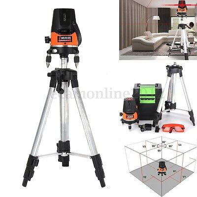 360° 5 Line 1 Point Auto Cross Laser Level Self-leveling Rotary RED Beam Tripod