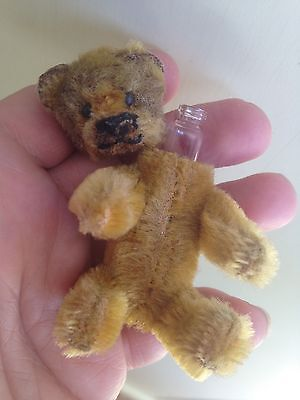 "Early Rare Antique Tiny Miniature 3.5"" Mohair Schuco Perfume Bear Bit Worn Cute"
