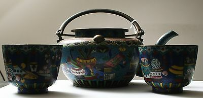 Antique CHINESE Qing CLOISONNE TEA POT with 2 TEA CUP circa 1900