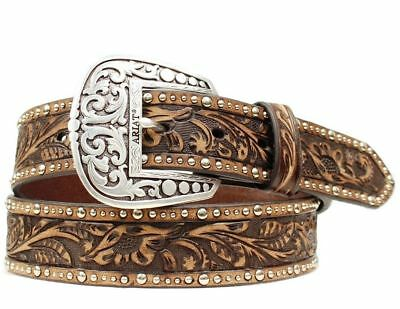 Ariat Western Belt Womens Leather Embossed Inlay Nail Brown A1513802