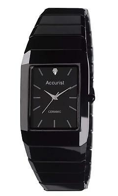 Accurist MB952 Mens Black Ceramic  Diamond Set Watch Auth UK Stocksit