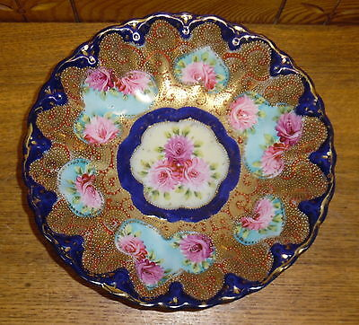 Antique Japanese Satsuma Porcelain Bowl - Roses w/ Gold & Blue - 1 Chip - 10""