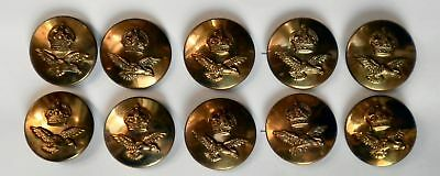 10 x 23mm Kings Crown & Wings Brass Finish Military Uniform RAF Buttons P6643