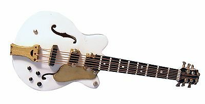 "1/12Th Scale Dolls House White ""gibson"" Style Es Guitar"