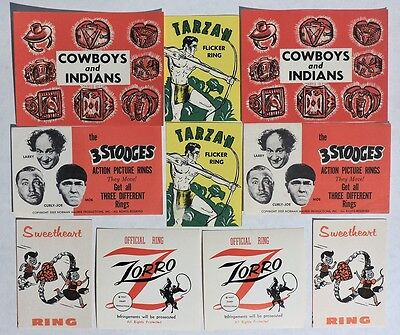 S703. VINTAGE: Lot of 10: 3 STOOGES, ZORRO, TARZAN & More Ad Pieces (1960's)