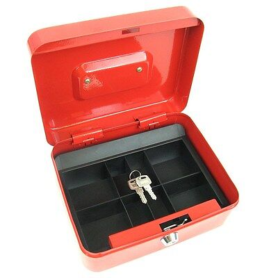 Red Metal Cash Box with Lock and Key 6.5 x 7.5 x 3 inches