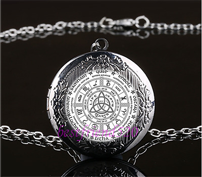 Celtic Wheel of the Year Cabochon Glass Gun Black Locket Pendant Necklace