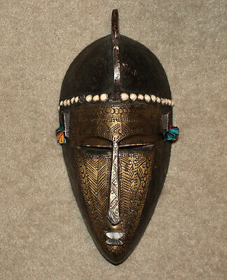 African Beautiful Vintage Marka or Bambara Tribal Brass & Wood Mask
