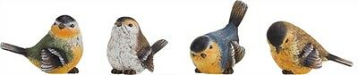 Set of 4 Small Resin Colored Bird Figurines--#P8816