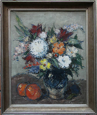 British 1950's Floral Oil Painting Art Still Life Signed Post Impressionist