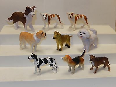 Lot of 9 Rubber Dog Figures Cake Toppers Diorama